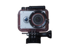 Action sport camera. Isolated on the white background Royalty Free Stock Images