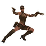 Action steampunk warrior girl Royalty Free Stock Images