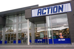 Action store. MALMEDY, BELGIUM - MAY 2015: Action is a Dutch discount store-chain. Sells in their variety stores low budget products. Action operates over 400 Stock Photos