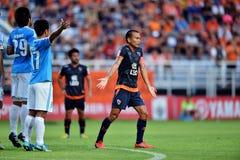 Action In Thai Premier League. BANGKOK,THAILAND-JULY 7:Action in Thai Premier League during the Thai Premier League between TOTSC and Chiangrai United at TOT Stock Photo