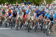 Action from the Tour Down Under as cyclists race along Rundle Street in Adelaide in South Australia. Stock Photography