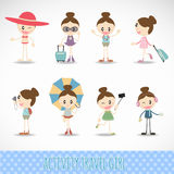 Action travel cute girl  activity set vector design Royalty Free Stock Image
