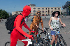 Action within the Ukrainian Bicycle Day in Kharkiv Ukraine Royalty Free Stock Images