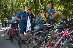 Action within the Ukrainian Bicycle Day in Kharkiv Ukraine Stock Image