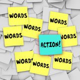Action Vs Words Sticky Note Message Board Royalty Free Stock Photography