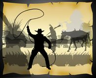 Action west with indians and cowboy on a old paper Royalty Free Stock Photos