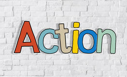 Action Word and Brick Wall in Background Royalty Free Stock Images