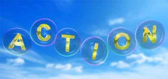 The action word in bubble. The action word in soap bubble on blue sky background,3d rendered Royalty Free Stock Images
