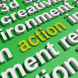 Action In Word Cloud Shows Inspired Activity Royalty Free Stock Photos