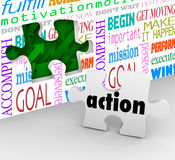 Action Word Puzzle Piece Wall Hole Proactive Ideas Active Succes. Action is the final piece of the puzzle needed to complete change, innovation and success in Stock Photos