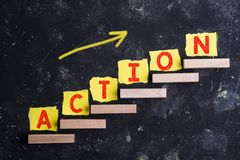 Action word on steps stock images