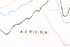 ACTION word written with wooden cubes Royalty Free Stock Images
