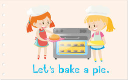 Action wordcard with girls baking pie Stock Photos