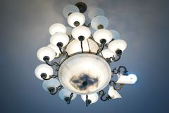 Actionchandelier with crystal pendants. In temple Stock Photography