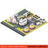 Actionnez la batterie verte du soleil d'usine de la chaleur d'énergie à plat isométrique Photographie stock libre de droits