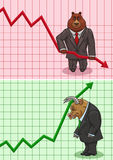 The actions of bear and bull on the stock exchange. Stock Photos