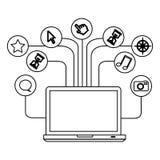 actions d'icône de serveur de base de données informatique d'ordinateur portable de technologie de silhouette Photographie stock libre de droits