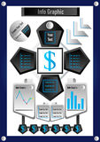 Actions et argent graphiques d'affaires d'infos Illustration Libre de Droits