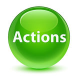 Actions glassy green round button Stock Image