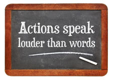 Actions speak louder than words - blackboard concept royalty free stock photos