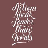 Actions speak louder than words illustration. Isolated Royalty Free Stock Images