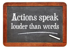 Actions speak louder than words stock photography