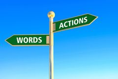 Actions or words. Actions and words in arrow sign board on blue sky background Stock Image