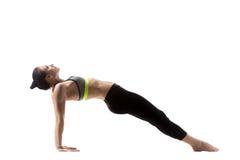 Actitud ascendente de la yoga del tablón Fotos de archivo