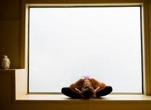 Actitud de la yoga adentro en alféizar Imágenes de archivo libres de regalías