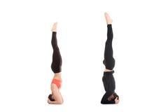 Actitud de la yoga del sirsasana de Salamba en pares Foto de archivo