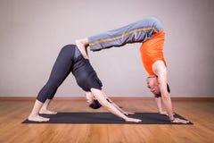 Actitud de la yoga del socio del perro hacia abajo del doble por un par Fotos de archivo libres de regalías