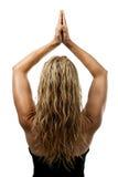 Actitud de la yoga, parte posterior de la situación rubia de la mujer Foto de archivo libre de regalías