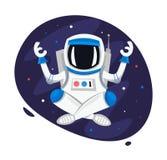 Actitud de Lotus del astronauta de la yoga Ejemplo del vector de la historieta del cosmonauta de la meditación ilustración del vector