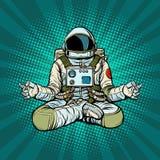 Actitud de Lotus del astronauta de la yoga Meditación y práctica espiritual stock de ilustración