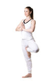 Actitud de Vrikshasana de la yoga, tres cuartos visión Imagen de archivo