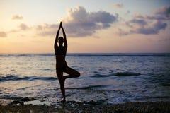 Actitud del árbol de Vrikshasana de la yoga Foto de archivo libre de regalías