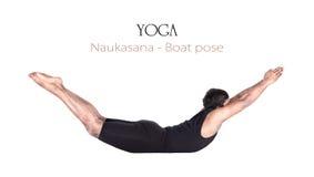 Actitud del barco del naukasana de la yoga Fotos de archivo