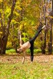 Actitud del chandrasana de Ardha de la yoga Imagen de archivo libre de regalías