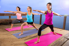 Actitud del equipo de la yoga en de la naturaleza colorido moderno del día soleado brillante pacífico al aire libre nuevo Imagen de archivo
