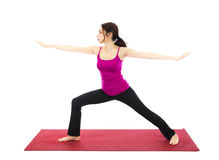 Actitud del guerrero II en yoga imagen de archivo libre de regalías