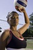 Actitud del jugador de voleibol Fotografía de archivo libre de regalías