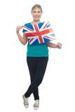 Actitud elegante llamativa del partidario BRITÁNICO lindo del blonde Foto de archivo libre de regalías