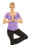 Actitud femenina hermosa del árbol de la yoga que hace fotografía de archivo libre de regalías