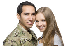Actitud militar sonriente de los pares para un retrato fotos de archivo libres de regalías
