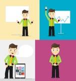 Actitudes de hombres de negocios jovenes, blanco de la presentación Imagenes de archivo