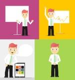 Actitudes de hombres de negocios jovenes, blanco de la presentación Imagen de archivo libre de regalías