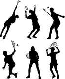 Actitudes de la acción del tenis Foto de archivo libre de regalías