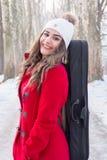 Actitudes de la muchacha con el violín Imagen de archivo libre de regalías
