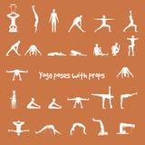 Actitudes de la yoga con los apoyos en vector