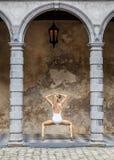 Actitudes de la yoga en fondo marrón Fotos de archivo